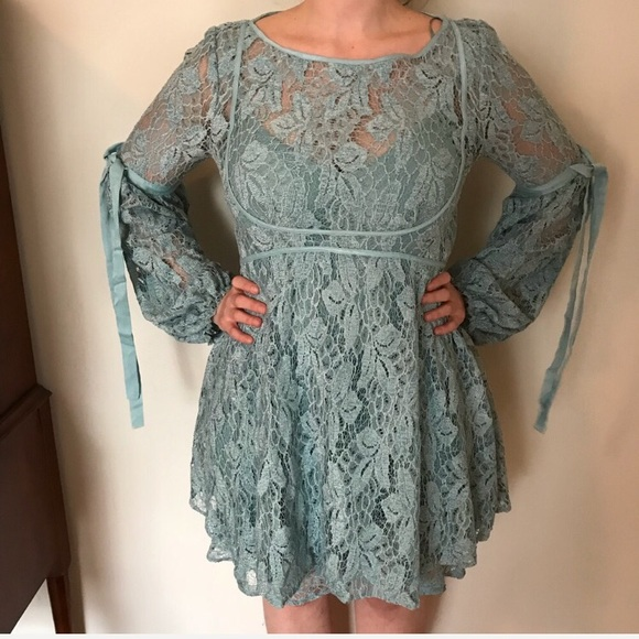 Free People Sea Fog Blue Lace Bow Sleeve Dress